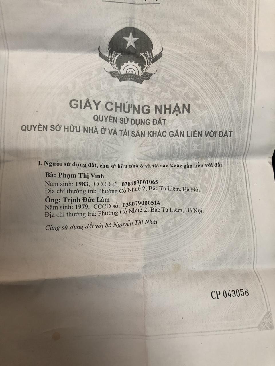 Bán 100m đất xóm Đầm Vân Nội đường 3m TT Đông Anh