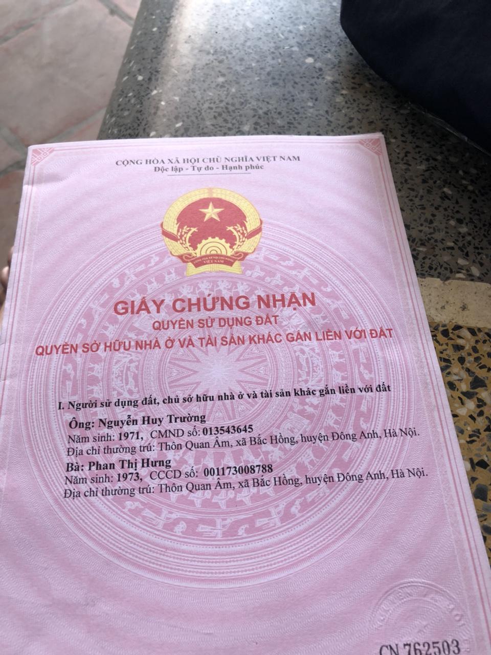 Bán 45m đất thổ cư thôn Quan Âm xã Bắc Hồng Đông Anh Hn