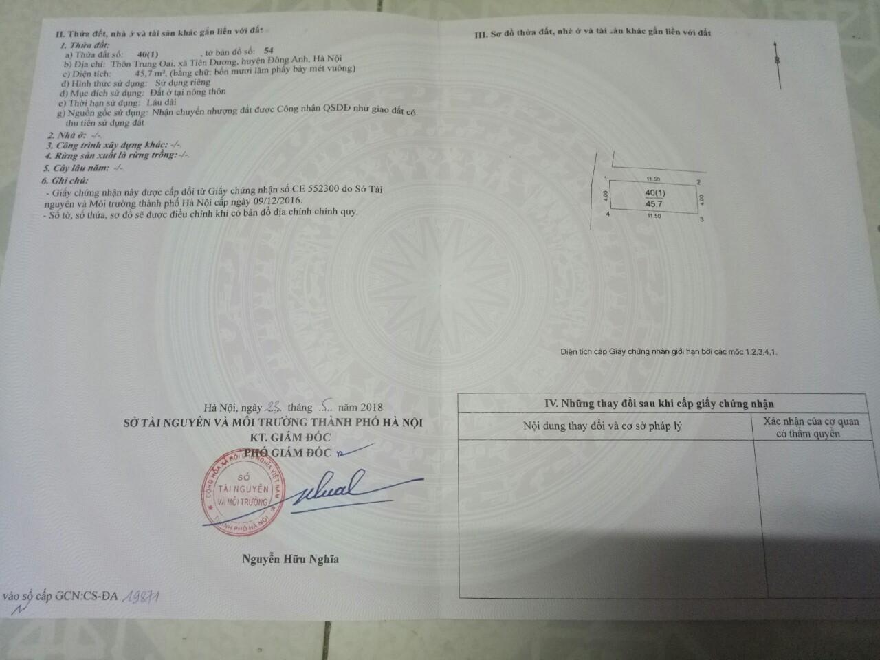 Bán lô đất 2 mặt tiền rộng 45,7m Trung Oai Tiên Dương Đông Anh giá 22tr/m2