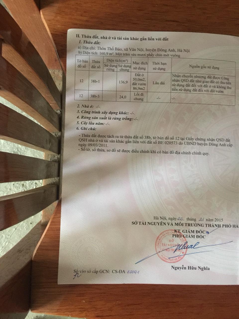 Chính chủ bán lô 137m, mặt 8m tại Thôn Thố Bảo- Vân Nội - Đông Aanh - Hà Nội