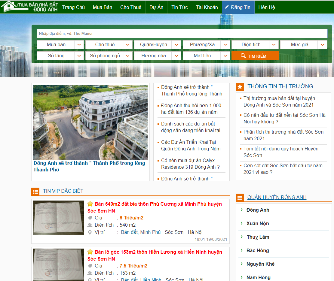 Trang thông tin bất động sản Đông Anh uy tín hàng đầu Việt Nam